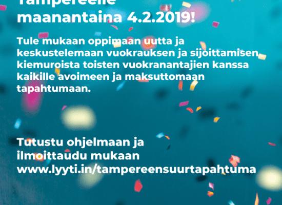Hei Pirkanmaa! Olemme mukana Suomen Vuokranantajat 20 vuotta -juhlaseminaarissa Tampereella, ilmoittaudu mukaan